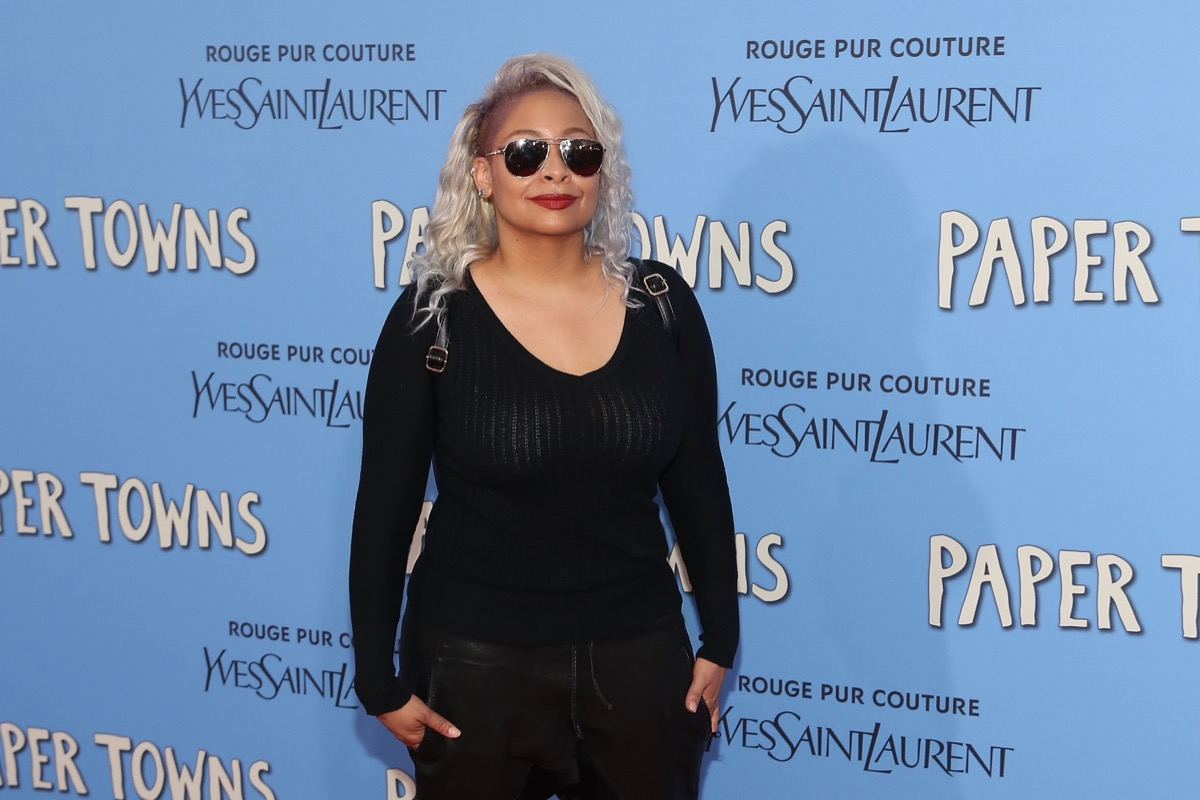 raven symone on red carpet with platinum hair