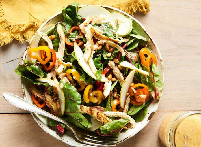 Warm Chicken Salad with Pears and Swiss Chard
